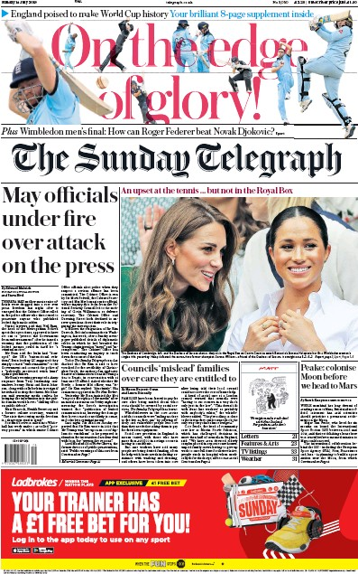 The Sunday Telegraph Newspaper Front Page (UK) for 14 July 2019