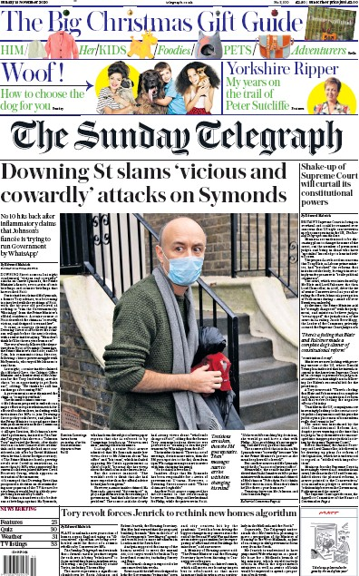 The Sunday Telegraph Newspaper Front Page (UK) for 15 November 2020