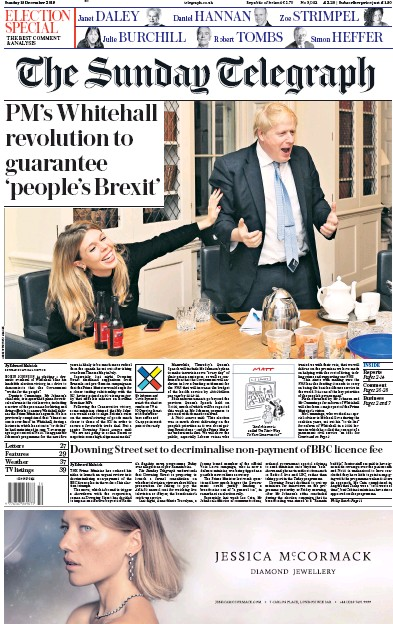 The Sunday Telegraph Newspaper Front Page (UK) for 15 December 2019