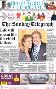 The Sunday Telegraph () Newspaper Front Page for 15 September 2019