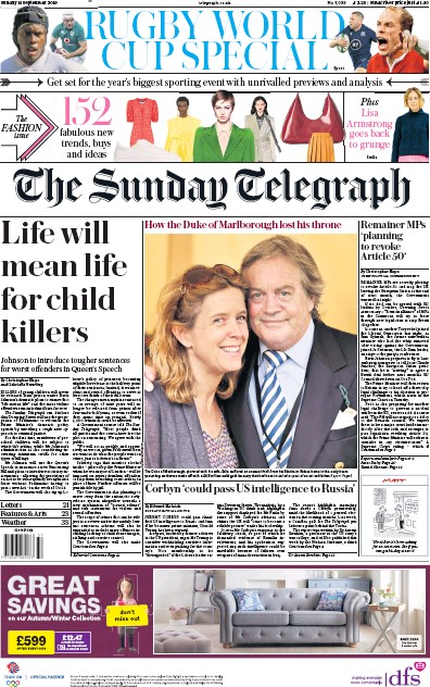 The Sunday Telegraph Newspaper Front Page (UK) for 15 September 2019