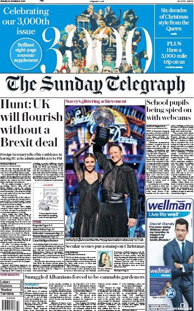 The Sunday Telegraph Newspaper Front Page (UK) for 16 December 2018