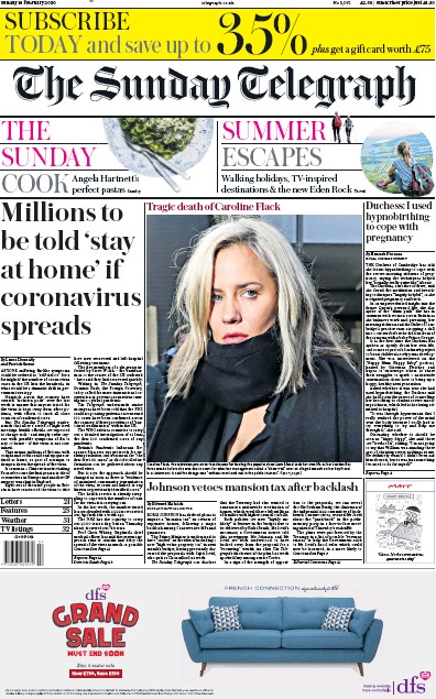 The Sunday Telegraph Newspaper Front Page (UK) for 16 February 2020