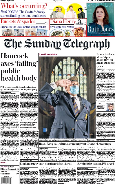 The Sunday Telegraph Newspaper Front Page (UK) for 16 August 2020