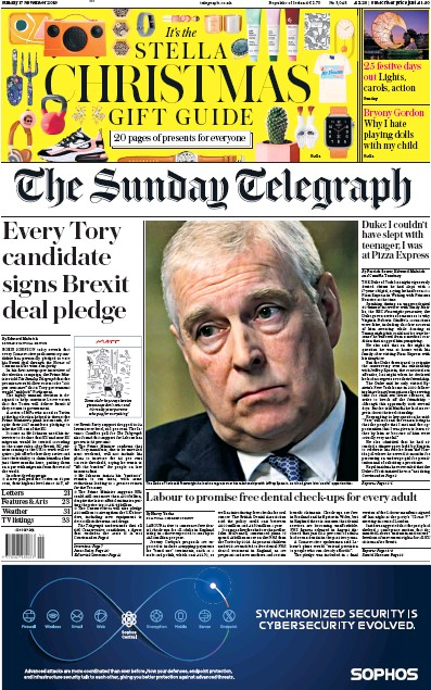The Sunday Telegraph Newspaper Front Page (UK) for 17 November 2019