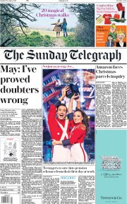 The Sunday Telegraph (UK) Newspaper Front Page for 17 December 2017