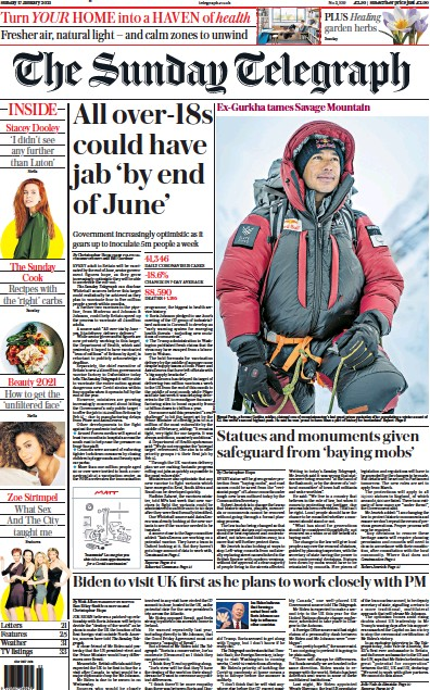 The Sunday Telegraph Newspaper Front Page (UK) for 17 January 2021