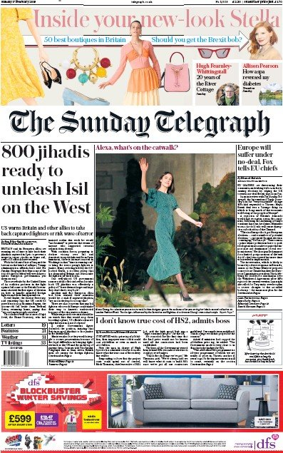 The Sunday Telegraph Newspaper Front Page (UK) for 17 February 2019