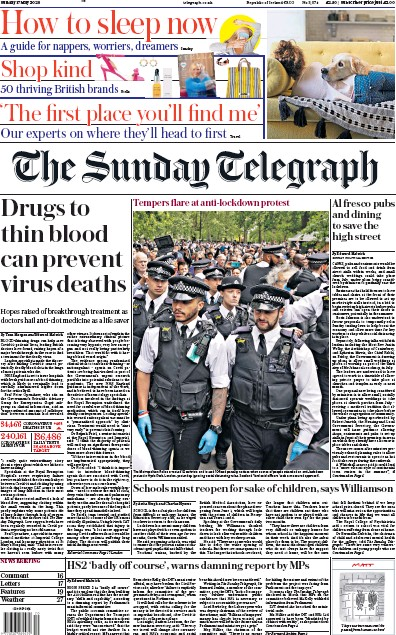 The Sunday Telegraph Newspaper Front Page (UK) for 17 May 2020