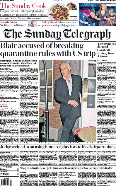 The Sunday Telegraph Newspaper Front Page (UK) for 18 October 2020