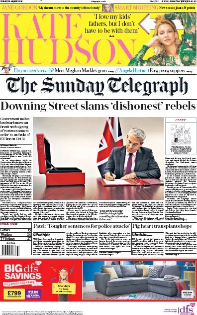 The Sunday Telegraph Newspaper Front Page (UK) for 18 August 2019
