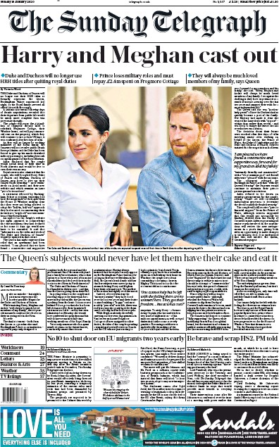 The Sunday Telegraph Newspaper Front Page (UK) for 19 January 2020