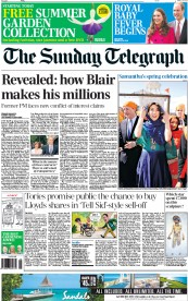 The Sunday Telegraph (UK) Newspaper Front Page for 19 April 2015