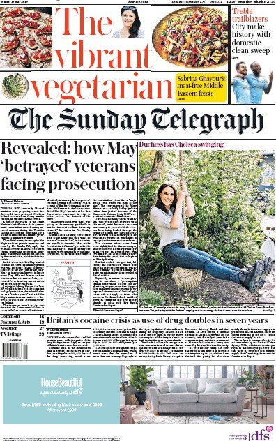 The Sunday Telegraph Newspaper Front Page (UK) for 19 May 2019