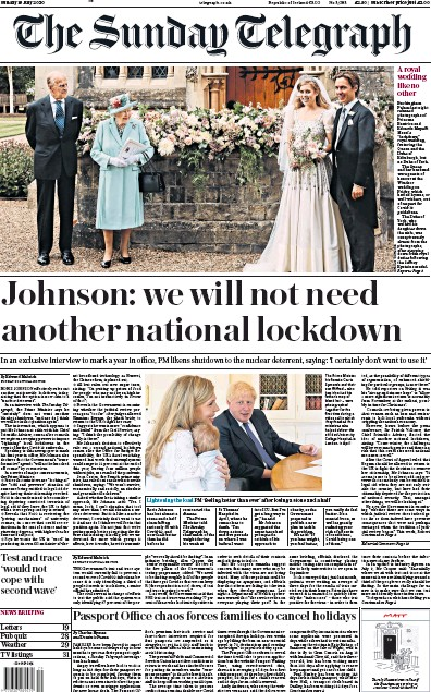 The Sunday Telegraph Newspaper Front Page (UK) for 19 July 2020