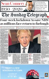 The Sunday Telegraph front page for 1 November 2020