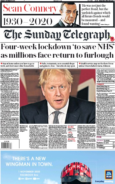 The Sunday Telegraph Newspaper Front Page (UK) for 1 November 2020