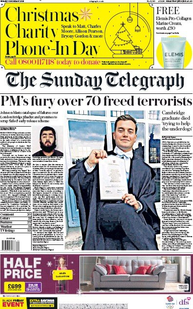 The Sunday Telegraph Newspaper Front Page (UK) for 1 December 2019