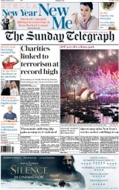 The Sunday Telegraph (UK) Newspaper Front Page for 1 January 2017