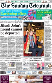 The Sunday Telegraph (UK) Newspaper Front Page for 1 March 2015