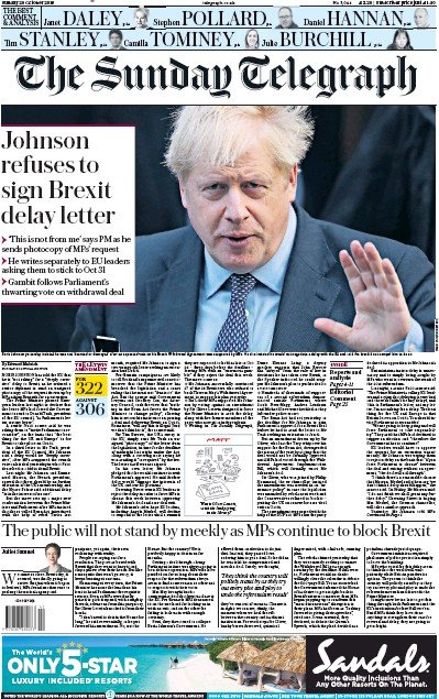 The Sunday Telegraph Newspaper Front Page (UK) for 20 October 2019
