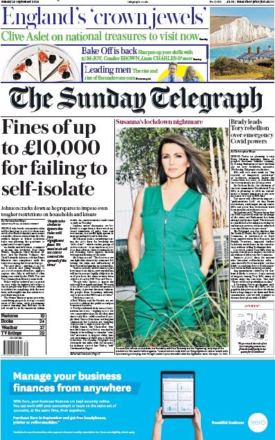 The Sunday Telegraph Newspaper Front Page (UK) for 20 September 2020