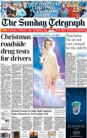 The Sunday Telegraph (UK) Newspaper Front Page for 21 December 2014