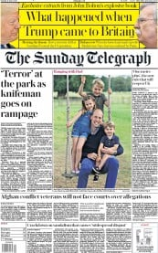 The Sunday Telegraph front page for 21 June 2020