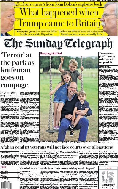 The Sunday Telegraph Newspaper Front Page (UK) for 21 June 2020