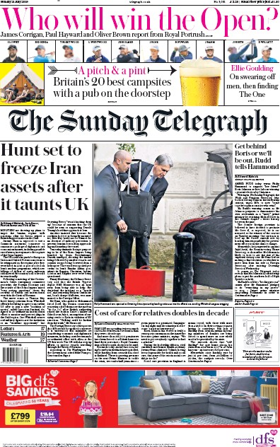 The Sunday Telegraph Newspaper Front Page (UK) for 21 July 2019