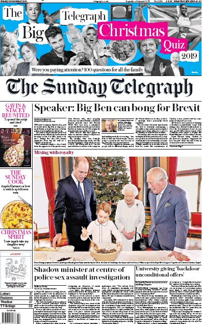 The Sunday Telegraph Newspaper Front Page (UK) for 22 December 2019