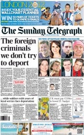 The Sunday Telegraph Newspaper Front Page (UK) for 22 July 2012