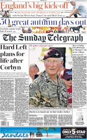 The Sunday Telegraph (UK) Newspaper Front Page for 22 September 2019