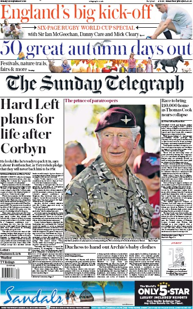 The Sunday Telegraph Newspaper Front Page (UK) for 22 September 2019