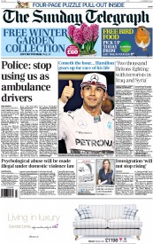 The Sunday Telegraph (UK) Newspaper Front Page for 23 November 2014