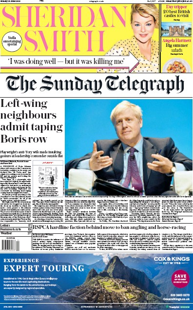 The Sunday Telegraph Newspaper Front Page (UK) for 23 June 2019