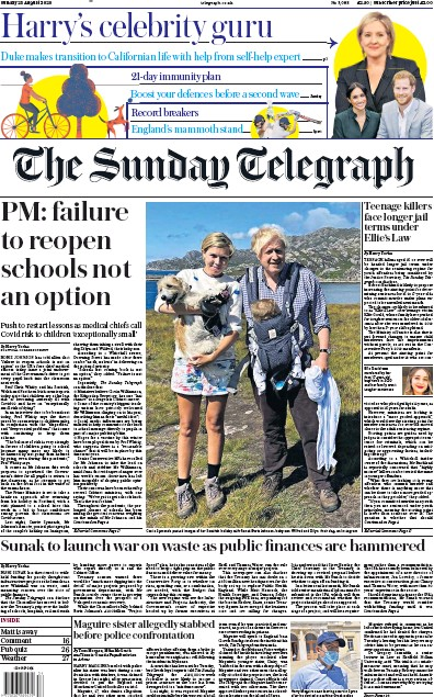 The Sunday Telegraph Newspaper Front Page (UK) for 23 August 2020