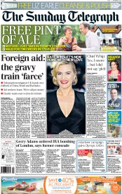 The Sunday Telegraph Newspaper Front Page (UK) for 23 September 2012