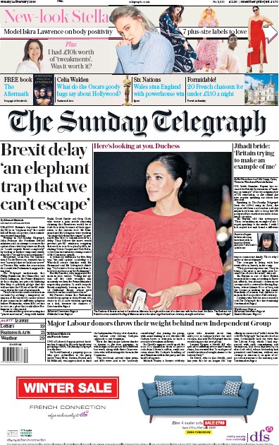 The Sunday Telegraph Newspaper Front Page (UK) for 24 February 2019