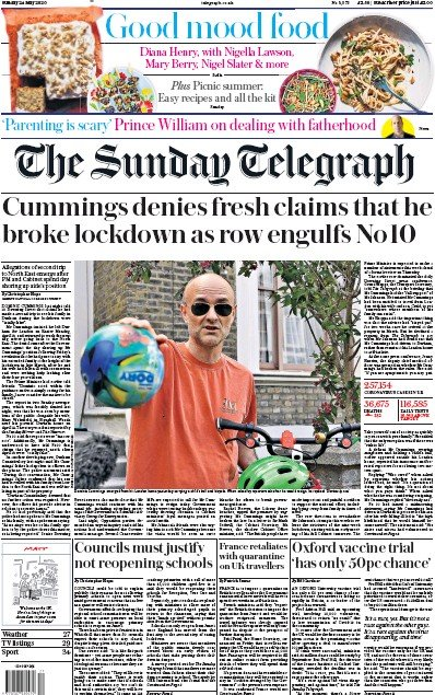 The Sunday Telegraph Newspaper Front Page (UK) for 24 May 2020