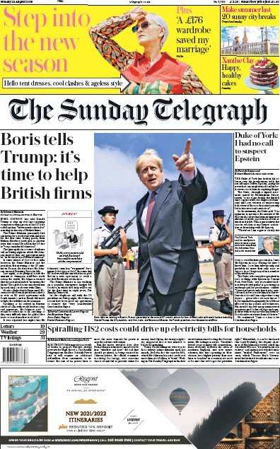 The Sunday Telegraph Newspaper Front Page (UK) for 25 August 2019