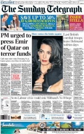 The Sunday Telegraph (UK) Newspaper Front Page for 26 October 2014