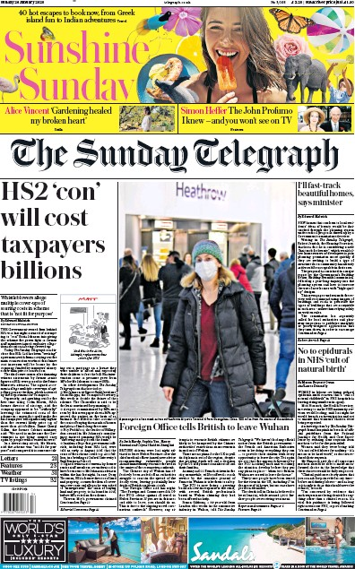 The Sunday Telegraph Newspaper Front Page (UK) for 26 January 2020