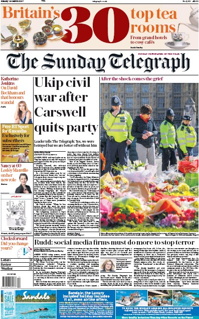 The Sunday Telegraph Newspaper Front Page (UK) for 26 March 2017