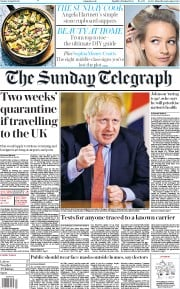 The Sunday Telegraph front page for 26 April 2020