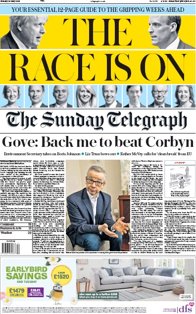 The Sunday Telegraph Newspaper Front Page (UK) for 26 May 2019