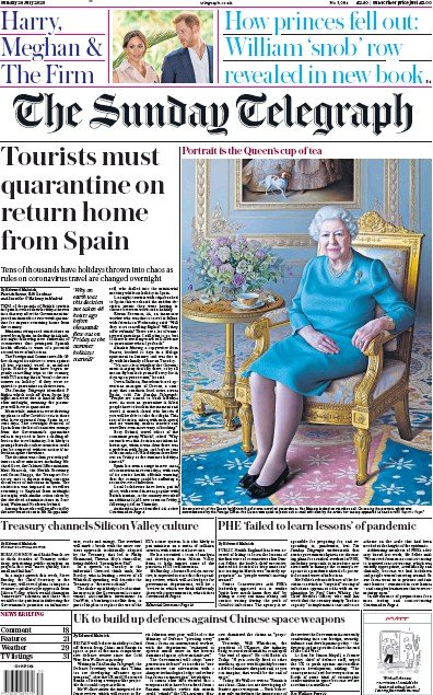 The Sunday Telegraph Newspaper Front Page (UK) for 26 July 2020