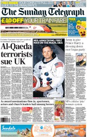 The Sunday Telegraph (UK) Newspaper Front Page for 26 August 2012