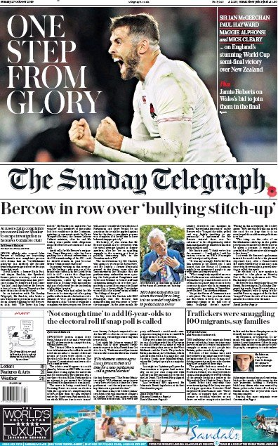 The Sunday Telegraph Newspaper Front Page (UK) for 27 October 2019