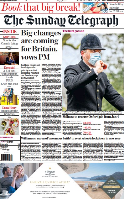The Sunday Telegraph Newspaper Front Page (UK) for 27 December 2020